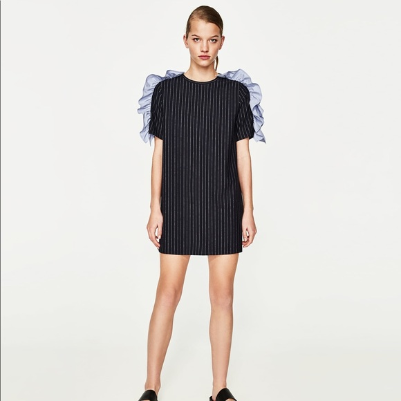 e151d112 Zara Dresses | Nwt Black Striped Dress With Ruffle Shoulders | Poshmark